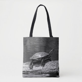 Painted Turtle on a Log (B&W) Tote Bag