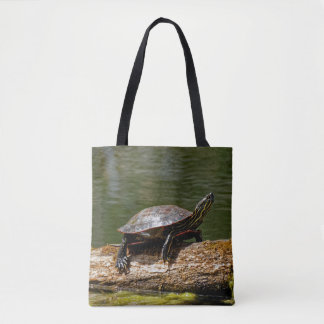 Painted Turtle on a Log Tote Bag