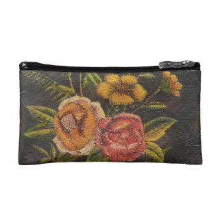 Painted Vintage Flowers Rose Cosmetic Bags