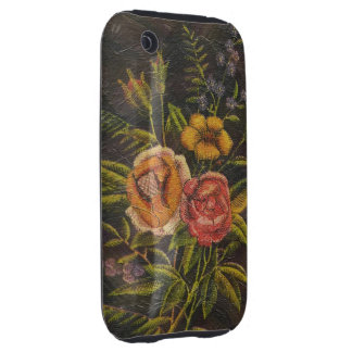 Painted Vintage Flowers Rose iPhone 3 Tough Cover