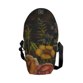 Painted Vintage Flowers Rose Messenger Bag
