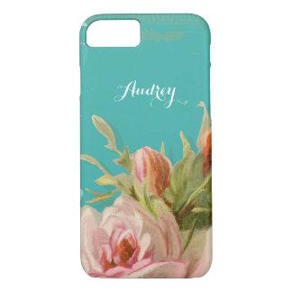 Painted Vintage Style Blush Pink English Rose Name Case-Mate iPhone Case
