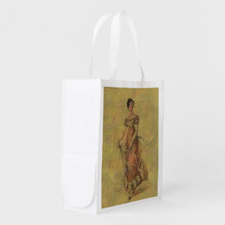 Painted Vintage Woman Dress Grocery Bags