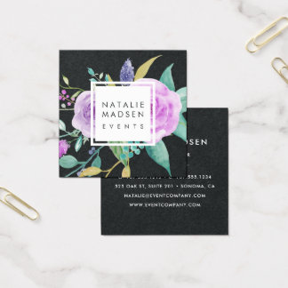 Painted Violet Floral | Black Square Business Card