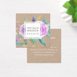 Painted Violet Floral Kraft Square Business Card
