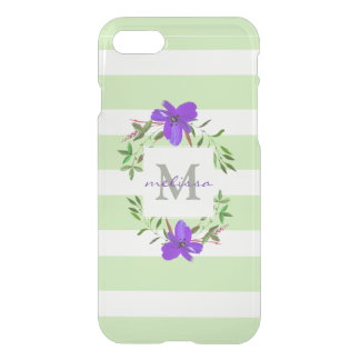 Painted Violet Flowers with Stripes | Monogram iPhone 8/7 Case