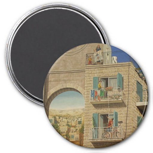 Painted wall of a house in Jerusalem Fridge Magnets
