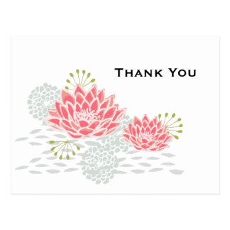 Painted Water lily - thank you postcard