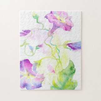 Painted watercolor convolvulus flowers jigsaw puzzle