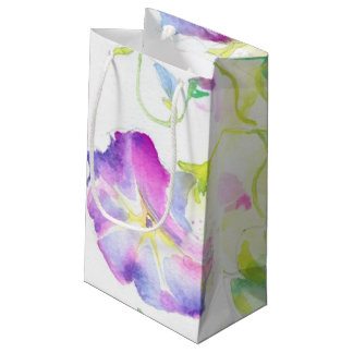 Painted watercolor convolvulus flowers small gift bag