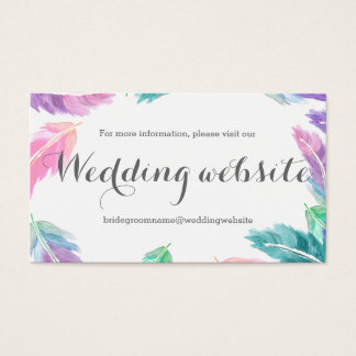 Painted watercolor feathers wedding website business card