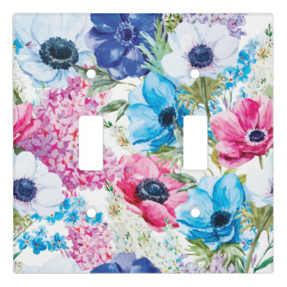 Painted Watercolor of Flowers | Light Switch Cover