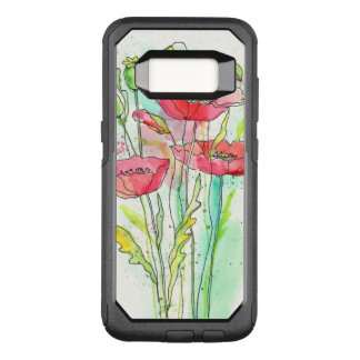 Painted watercolor poppies OtterBox commuter samsung galaxy s8 case