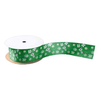 Painted White Flowers on Blended Green Ribbon Satin Ribbon