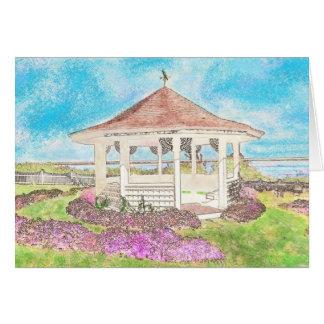Painted White Gazebo In Cape Cod Greeting Card