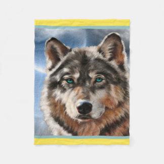 Painted Wolf in Moonlight Fleece Blanket