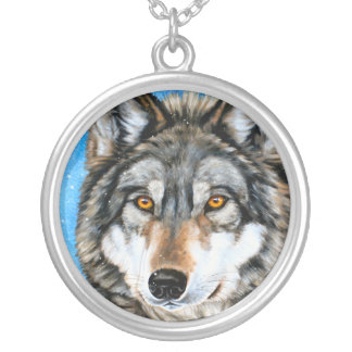 Painted Wolf Silver Plated Necklace