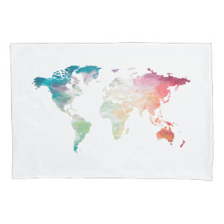 Painted World Map Pillowcase