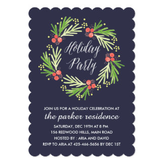 Painted Wreath Holiday Party Invitation