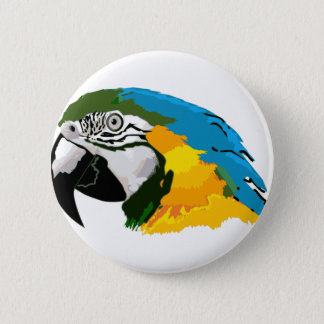 Painted Yellow Blue Macaw Parrot 2 Inch Round Button
