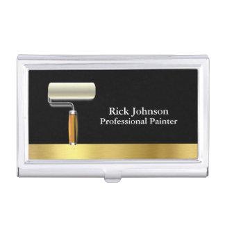 Painter Black Gold Paint Roller Business Card Holder
