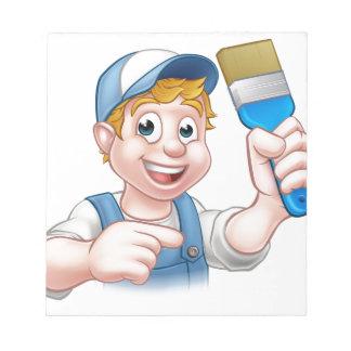 Painter Decorator Handyman Cartoon Character Notepad