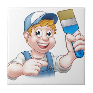 Painter Decorator Handyman Cartoon Character Tile