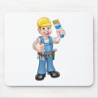 Painter Decorator Holding Paintbrush Mouse Pad