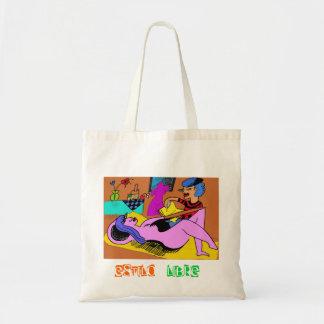 Painter drawing model tote bag