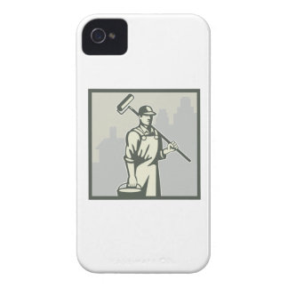 Painter Paint Roller Worker House Retro iPhone 4 Case-Mate Cases