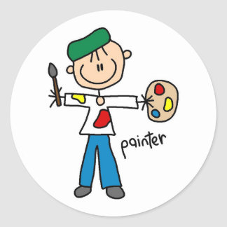 Painter Stick Figure Sticker