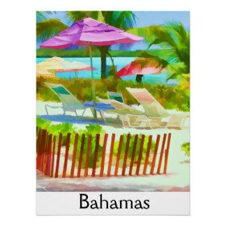Painterly Bahamas Summer Vacation  Beach Scene Perfect Poster