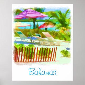 Painterly Bahamas Summer Vacation  Beach Scene Poster