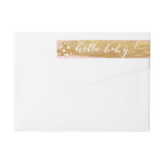 Painterly Faux Gold Pink | Baby Wraparound Wrap Around Label