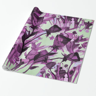 Painterly Graceful Flowing Flowers Wrapping Paper