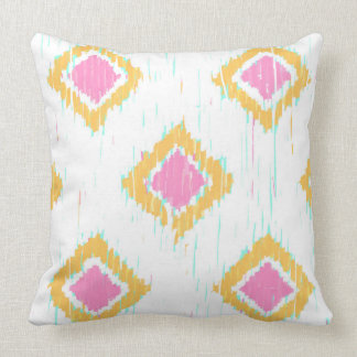 Painterly Ikat in Pink and Orange Pillow by KCS