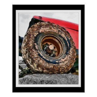 Painterly Jeep Muddy Tire Poster