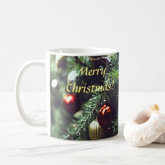 Painterly Merry Christmas Tree with Red Ornaments Coffee Mug