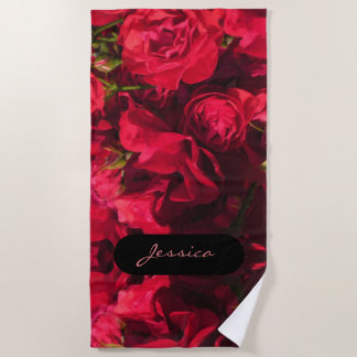 Painterly Mirrored Red Roses Monogrammed Beach Towel