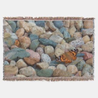 Painterly Painted Lady Butterfly on Rocks Throw Blanket