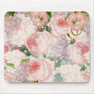 Painterly Retro Roses Lilacs Flower Spring Pattern Mouse Pad