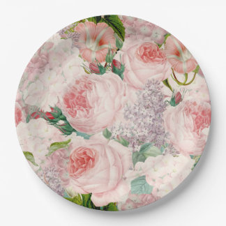 Painterly Retro Roses Lilacs Flower Spring Pattern Paper Plate
