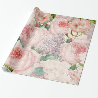 Painterly Retro Roses Lilacs Flower Spring Pattern Wrapping Paper