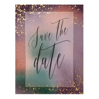 painterly save the date postcard