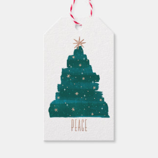 Painterly Tree Christmas Gift Tag Pack Of Gift Tags