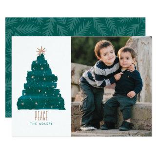 "Painterly Tree Christmas Photo Card 5"" X 7"" Invitation Card"