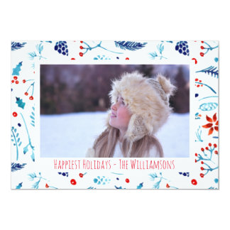 Painterly Watercolor Botanicals Holiday Photo Card
