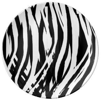 Painterly Zebra Pattern 1 by KCS Porcelain Plate