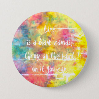 [Painter's Cloth]  Distresed Rainbow Tie-Dye 3 Inch Round Button