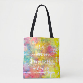 [Painter's Cloth]  Distressed Rainbow Tie-Dye Tote Bag